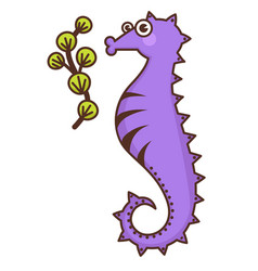 seahorse cartoon character seaweed and marine vector image