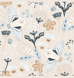 Seamless hight detailed floral texture with hand vector