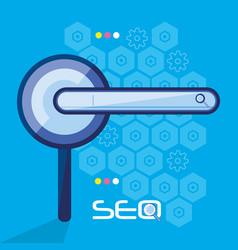search engine optimization with magnifying glass vector image