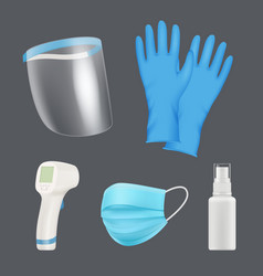 self protection equipment realistic medical tools vector image