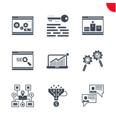 Seo and web opimization icons set vector