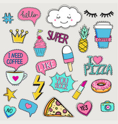 Set cute trendy patches vector