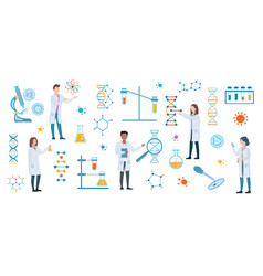 set dna and medical science researchers vector image