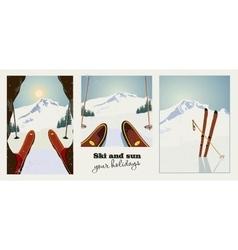Set winter ski vintage posters skier getting vector