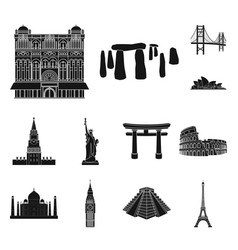 sights of different countries black icons in set vector image