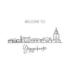 single continuous line drawing yogyakarta skyline vector image