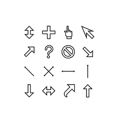 Smooth cursors icons with outlines vector