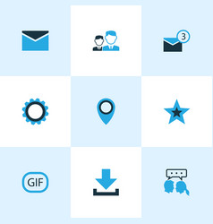 Social icons colored set with star pinpoint gear vector