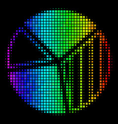 Spectral colored dotted pie chart icon vector