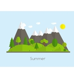 Summer Time Background in Modern Flat Design vector image