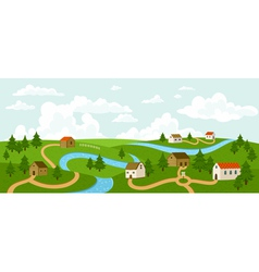 Summer village landscape vector