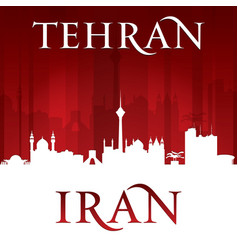 tehran iran city skyline silhouette red background vector image vector image