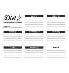 Template for the creation of the diet food menu vector