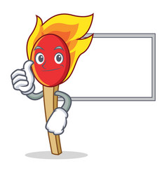 Thumbs up with board match stick character cartoon vector