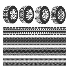 Tire shop tire tracks set vector