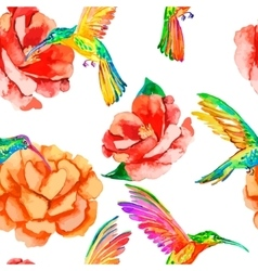 Tropical birds and flowers Seamless pattern vector