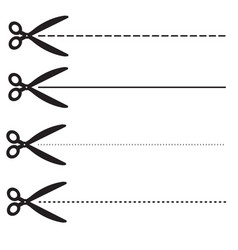 Ucher coupon dashed lines set scissors with vector