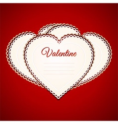 Valentine heart paper greetings card over red vector image