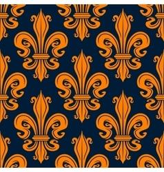 Vintage seamless orange fleur-de-lis pattern vector image