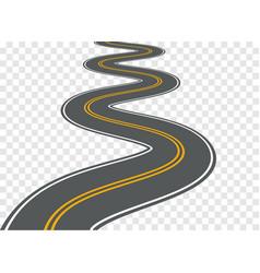 Winding road highway path long street vector