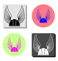 winged racer helmet flat icon vector image