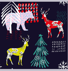 winter deer floral pattern vector image