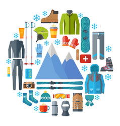 winter sportswear and equipment round icon set vector image