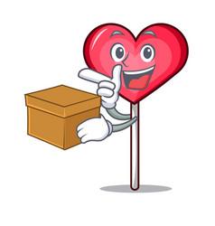 With box heart lollipop character cartoon vector