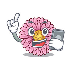 With phone gerbera flower pot above character vector