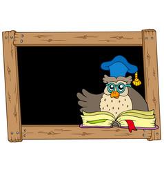 wooden blackboard with owl teacher vector image