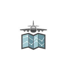 world airplane earth symbol creative air logo vector image