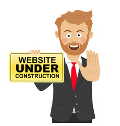 young businessman holds a safety sign vector image