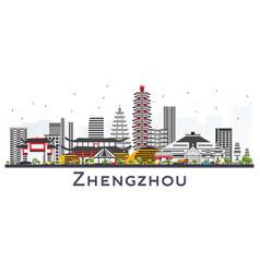 Zhengzhou china city skyline with gray buildings vector