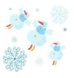 Beautiful snowman with snowflakes Christmas card vector image vector image