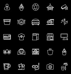 Franchisee business line icons on black background vector