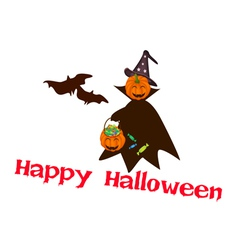 Halloween Pumpkin with Candy Basket vector image vector image