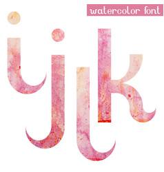 pink spring watercolor font letters i j k l vector image