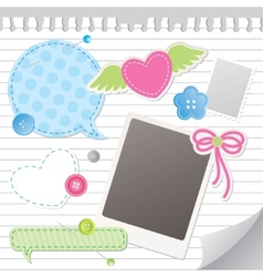 set of scrapbooking elements vector image
