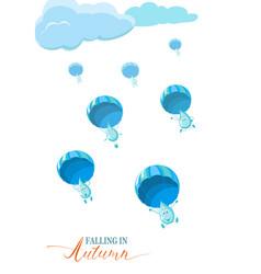 Autumn season banner flyer concept with rain vector