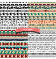 Big set of of vintage borders for design vector image vector image