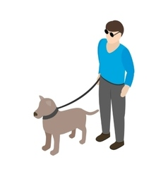 Blind man with guide dog icon isometric 3d style vector image