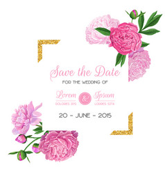floral wedding invitation template pink peony vector image vector image
