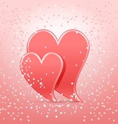 hearts in confetti vector image vector image