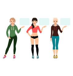 young woman in sportswear presentation vector image vector image