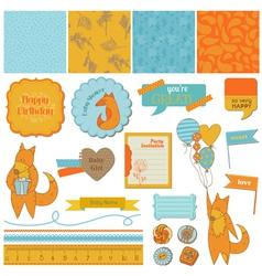Baby Shower Set with Cute Foxes vector image vector image