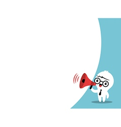Business man cartoon on megaphone bubble speech vector image