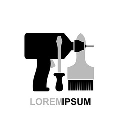 Carpentry tools logo Screwdriver drill brush vector image