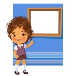 Cute little girl wearing school uniform vector image vector image