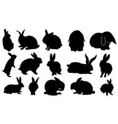 easter bunny silhouette set vector image