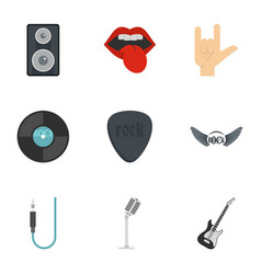 rock icon set flat style vector image